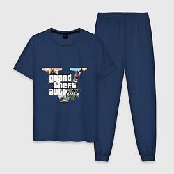 Пижама хлопковая мужская GTA V: City цвета тёмно-синий — фото 1