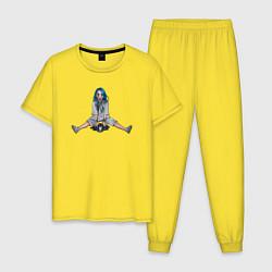 Пижама хлопковая мужская Billie Eilish цвета желтый — фото 1