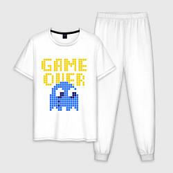 Пижама хлопковая мужская Pac-Man: Game over цвета белый — фото 1