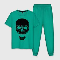 Пижама хлопковая мужская Злобный череп цвета зеленый — фото 1