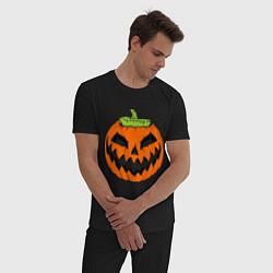 Пижама хлопковая мужская Хэллоуин тыква цвета черный — фото 2