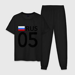 Пижама хлопковая мужская RUS 05 цвета черный — фото 1