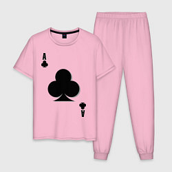 Пижама хлопковая мужская Крестовый туз цвета светло-розовый — фото 1
