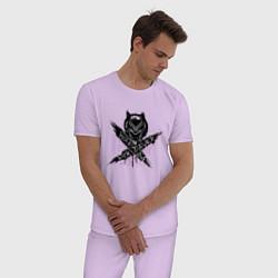 Пижама хлопковая мужская Ваканда цвета лаванда — фото 2