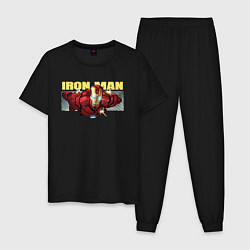 Пижама хлопковая мужская Iron Man: Mark IV цвета черный — фото 1