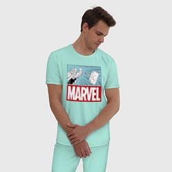 Пижама хлопковая мужская Thor: Marvel цвета мятный — фото 2