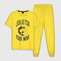 Пижама хлопковая мужская Jiu Jitsu цвета желтый — фото 1
