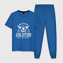Пижама хлопковая мужская Джиу Джитсу цвета синий — фото 1