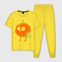 Пижама хлопковая мужская Тыква с пакетом цвета желтый — фото 1