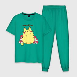 Пижама хлопковая мужская Pika Pika цвета зеленый — фото 1