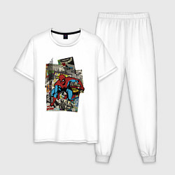 Пижама хлопковая мужская Spider-man comics цвета белый — фото 1