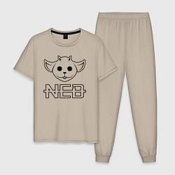 Пижама хлопковая мужская TOP: NED цвета миндальный — фото 1