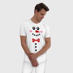 Пижама хлопковая мужская Позитивный снеговичек цвета белый — фото 2