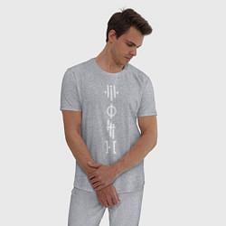 Пижама хлопковая мужская TOP: Symbols цвета меланж — фото 2