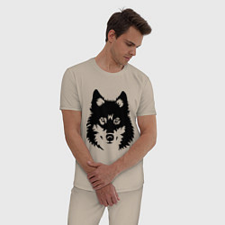 Пижама хлопковая мужская Одинокий волк цвета миндальный — фото 2