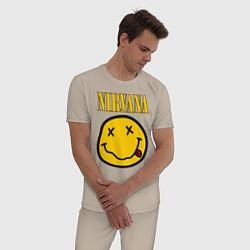 Пижама хлопковая мужская NIRVANA цвета миндальный — фото 2