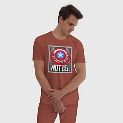 Пижама хлопковая мужская Not Us цвета кирпичный — фото 2