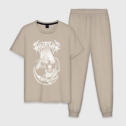 Пижама хлопковая мужская Ghostemane цвета миндальный — фото 1