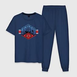Пижама хлопковая мужская Spidey цвета тёмно-синий — фото 1