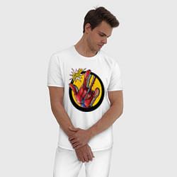 Пижама хлопковая мужская Spiderweb цвета белый — фото 2