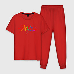 Пижама хлопковая мужская STRAY KIDS АВТОГРАФЫ цвета красный — фото 1