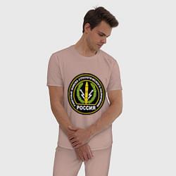 Пижама хлопковая мужская РВСН России цвета пыльно-розовый — фото 2