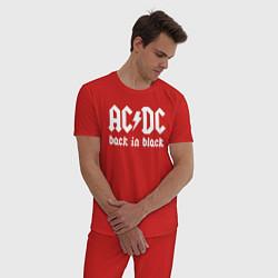 Пижама хлопковая мужская ACDC BACK IN BLACK цвета красный — фото 2