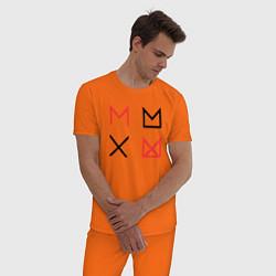 Пижама хлопковая мужская MONSTA X цвета оранжевый — фото 2