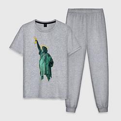 Пижама хлопковая мужская Банановая статуя цвета меланж — фото 1