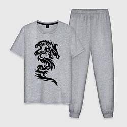 Пижама хлопковая мужская Дракон узор цвета меланж — фото 1