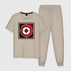 Пижама хлопковая мужская R6S GLAZ цвета миндальный — фото 1