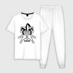 Пижама хлопковая мужская Джокер цвета белый — фото 1