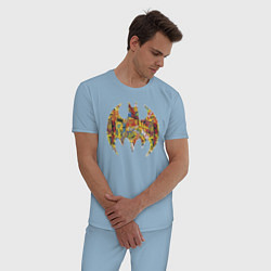 Пижама хлопковая мужская BAT logo цвета мягкое небо — фото 2