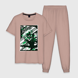 Пижама хлопковая мужская Caped Crusader цвета пыльно-розовый — фото 1