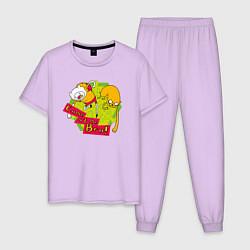 Пижама хлопковая мужская Come at me Bro цвета лаванда — фото 1