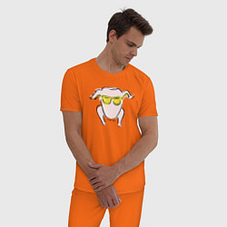 Пижама хлопковая мужская I Love You цвета оранжевый — фото 2