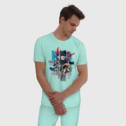 Пижама хлопковая мужская Лига Справедливости цвета мятный — фото 2