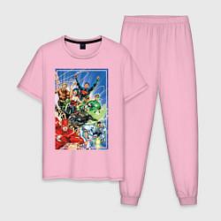 Пижама хлопковая мужская Лига Справедливости цвета светло-розовый — фото 1