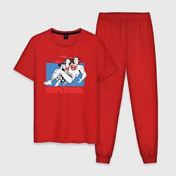 Пижама хлопковая мужская Superman & Supergirl цвета красный — фото 1