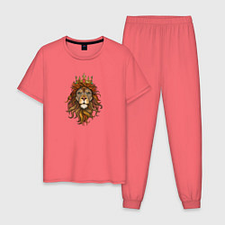 Пижама хлопковая мужская Король Лев цвета коралловый — фото 1