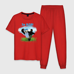 Пижама хлопковая мужская Панда ВДВ цвета красный — фото 1