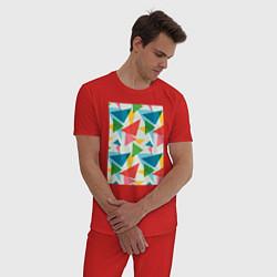 Пижама хлопковая мужская Минимализм цвета красный — фото 2