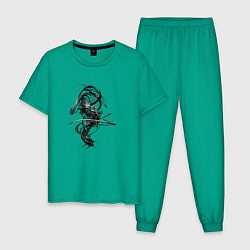 Пижама хлопковая мужская Темная Энергия цвета зеленый — фото 1