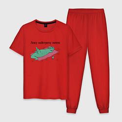 Пижама хлопковая мужская Лежу навстречу мечте цвета красный — фото 1