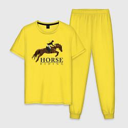 Пижама хлопковая мужская HORSE RIDING цвета желтый — фото 1