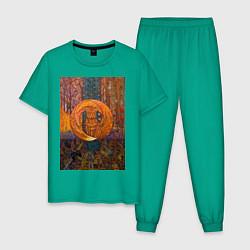 Пижама хлопковая мужская Лис цвета зеленый — фото 1