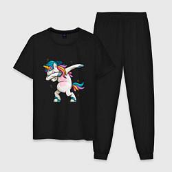 Пижама хлопковая мужская Единорог цвета черный — фото 1