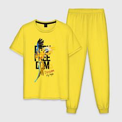 Пижама хлопковая мужская Born Freedom цвета желтый — фото 1