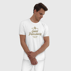 Пижама хлопковая мужская Санкт-Петербург Gold Classic цвета белый — фото 2