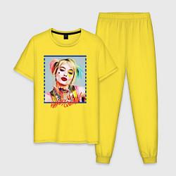 Пижама хлопковая мужская Harley Quinn XX цвета желтый — фото 1